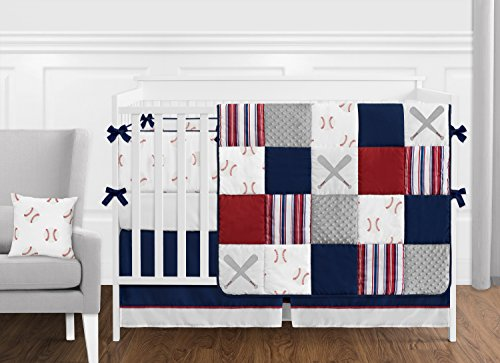 Sweet Jojo Designs Red White and Blue Baseball Patch Sports Baby Boy Crib Bedding Set with Bumper - 9 Pieces - Grey Patchwork Stripe