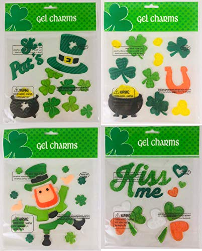 Gel Charms St Patricks Day Window Clings Decoration Set and Sticker Book
