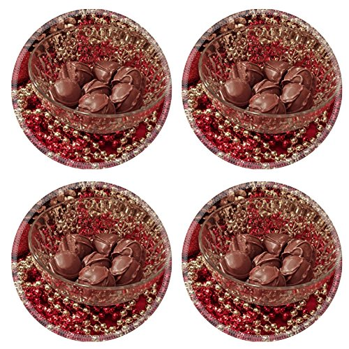 Liili natural rubber Round Coasters IMAGE ID 24170995 Tasty homemade truffles in a crystal bowl set on an elegant holiday table
