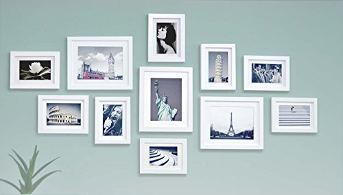 Solid Wood Photo Frame Set - 11 Frames - Glass Front- With Picture Mats - Frame Width 2cm - White