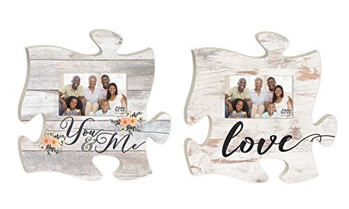 You and Me Love Floral Whitewash Look Puzzle Piece Interlocking 4 x 6 Photo Frames Set of 2