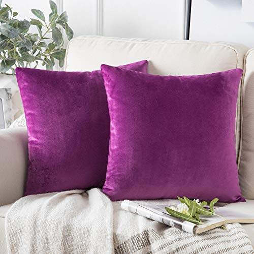 Phantoscope Pack of 2 Velvet Decorative Throw Pillow Covers Soft Solid Square Cushion Case for Couch Purple 22 x 22 inches 55 x 55 cm