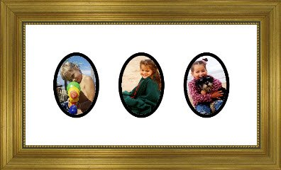 Gold Collage Picture Frame with 3 oval openings for 8X10 photos
