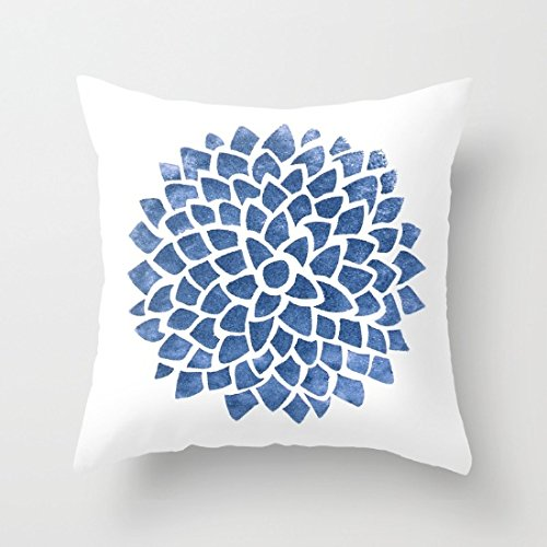 Blue Indigo White Canvas Square Throw Pillow Covers Couchs Pillow Covers Vintage 18 x 18