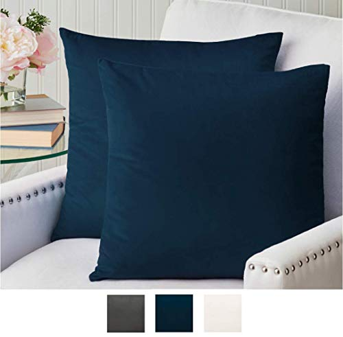 The Connecticut Home Company Luxurious Velvet Throw Pillow Cases Set of 2 Decorative Case Sets Square Pillow Covers Soft Cases for Bedroom Living Room Couch Sofa Bed 18x18 Midnight Navy Blue