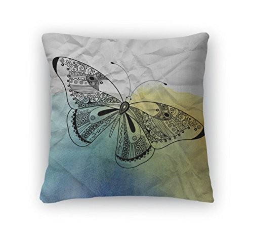 Gear New Silver Throw Pillow 14x14 Graphic Butterfly On Crumpled Paper
