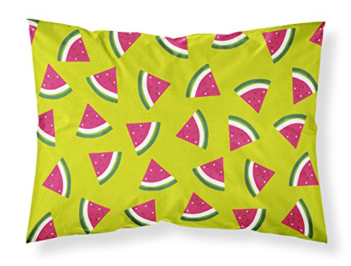 Carolines Treasures BB5151PILLOWCASE Watermelon on Lime Green Pillowcase Multicolor Standard