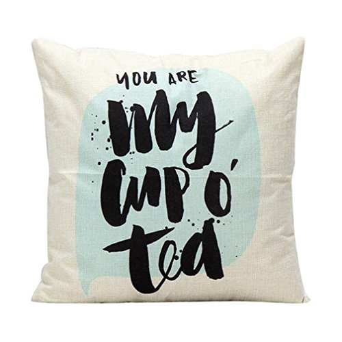 Gotd Throw Pillow Case Cover Solid Color Sleeping Pillow Word Linen Blend Square 18 Inch Sofa Bed Car Living Room Throw Pillow B