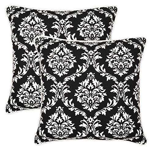 Pack of 2 Bath Bed Decor Cotton Canvas Accent Throw Pillow Covers 18 x 18 Inches Damask Decorative Toss Pillow Covers Black with Hidden Zipper Closer
