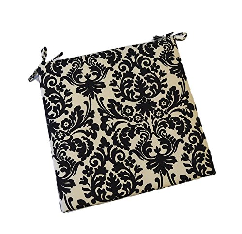 Black and Cream Damask Scroll Universal Foam Seat Chair Cushion w Ties - Indoor  Outdoor - Choose Size 19 x 19