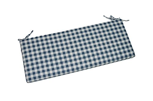 Navy Blue Plaid  Country Checkered  Checkerboard 2 Thick Foam Swing  Bench  Glider Cushion with Ties and Zipper - Choose Size 54 x 18