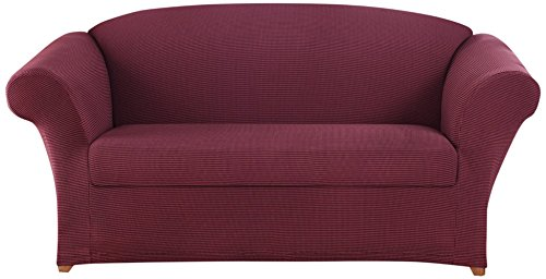 Sure Fit Stretch Honeycomb 2-Piece Sofa Slipcover Burgundy