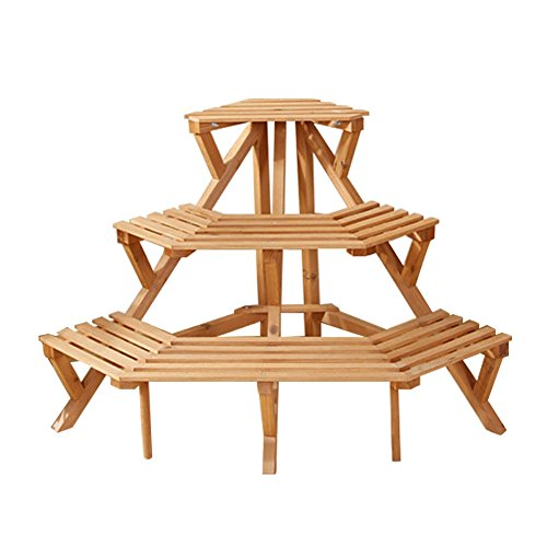 Free Standing 3 Tiers Wood Corner Plant Stands by Hans&Alice  Flower Pot Holder Display Rack Stand Natural Color