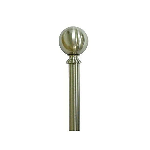Home Decorators Collection 66 in - 120 in Telescoping 34 in Sphere Finial Curtain Rod Kit in Brushed Nickel