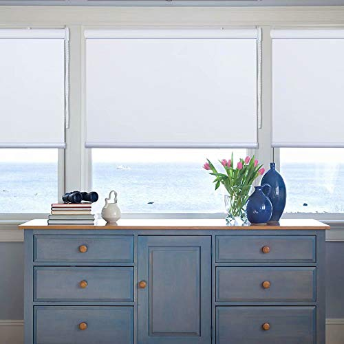 Kingmond Thermal Insulated 100 Blackout Waterproof Fabric Custom Window Roller Shades Blinds76 W x 88 L White