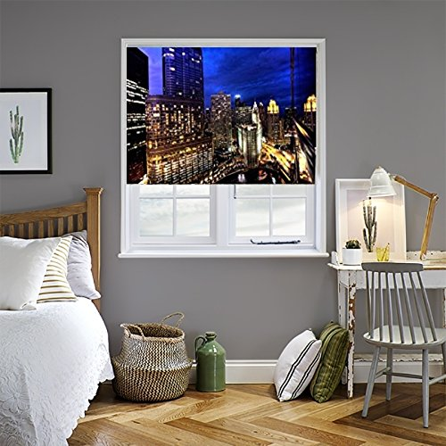 Zozulu Roller Blackout Shades - Chicago Night Theme - Printed Fabric Blinds for windowslayout blind roll-up blinds room darkening blinds sunscreen roller blinds 4 Width