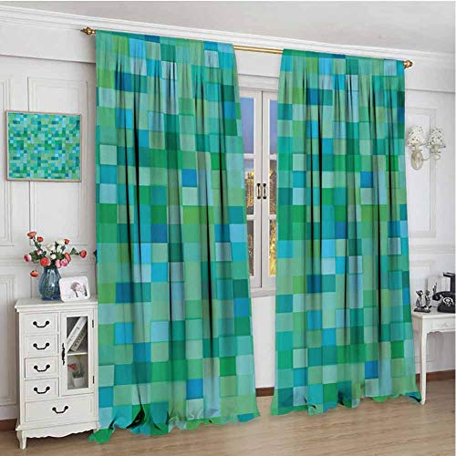championCEL Teal Window Curtain Drape 3D Cube Pattern Abstract Squares Vibrant Colored Geometric Shapes Design Modern Drapes for Living Room Sea Green Blue 72x84 inch