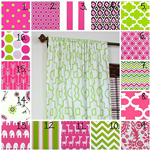 Pink Curtain Panel Set Nursery Curtains Girl Bedroom Curtains Little Girl Pink and Green Drapes Chevron Curtains Polka Dot Curtains Set of 2 Choose Fabric and Size