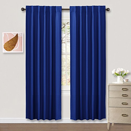 Kids Room Blackout Curtain Panels - PONY DANCE 2017 New Design Rod Pocket Curtains Thermal Insulated Window Coverings with 6 Back Loops Per Panel42W x 84LNavy Blue2 Pcs