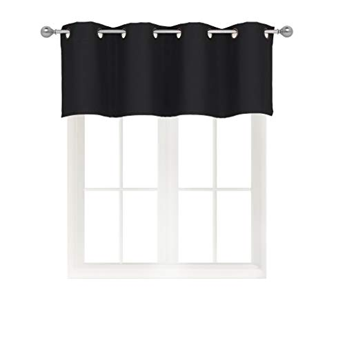 Home Queen Grommet Top Blackout Curtain Valance Window Treatment for Living Room Short Straight Drape Valance Set of 1 54 X 18 Inch Black