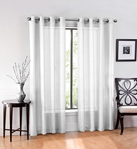 2 Pack GoodGram Ultra Luxurious High Woven Elegant Sheer Grommet Curtain Panels - Assorted Colors White