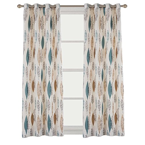 Contemporary Print Floral Blackout Lined Curtain Panel Drapes Nickle Grommet 52Wx72L Inch 1 Panel For Bedroom  Living Room  Club  Hotel  Restaurant