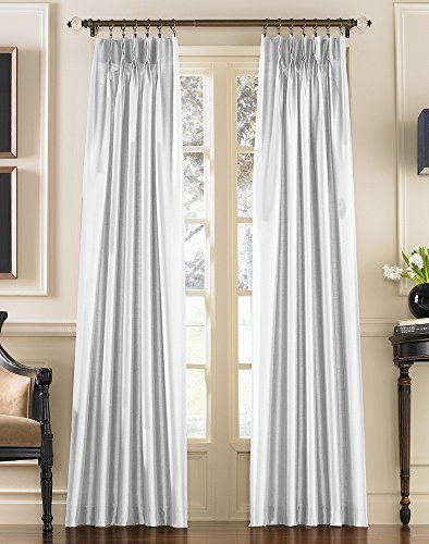 Marquee Faux Silk Pinch PleatBack Tab Lined Curtain Panel 84-inch White