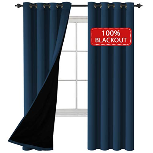 HVERSAILTEX 100 Blackout Grommet Curtains 84 Length for Bedroom Faux Silk Satin with Black Backing -Thermal Insulated Energy Efficiency Window Panel Drapes Sold by Pair Navy