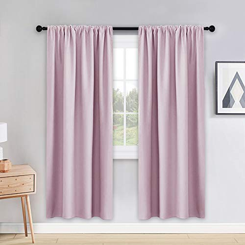 PONY DANCE Home Decoration Curtains - 42 W x 72 L Light Pink Window Covering Curtain Draperies Room Darkening Drapes Modern Design Drapes Energy Efficient for BedroomLiving Room Set of 2