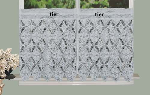 Creative Linens Knitted Crochet Lace Kitchen Curtain 30 L Tiers WHITE