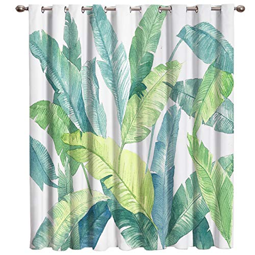 Blackout Thermal Window Curtain Watercolor Tropical Plant Banana Leaf Print Window Drapes Blackout for Bedroom Living Room Kids Room 52 W x 72 L