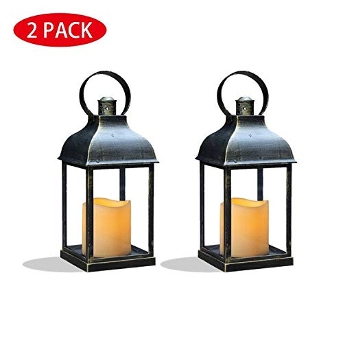 MammyGol Pack of 2 Vintage Decorative Lanterns with Timer - 9 Outdoor Candle Lantern with LED Flickering Flameless Candles - Hanging Lanterns for Wedding Party Decoration