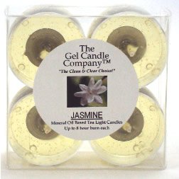 4 Pack of Jasmine Scented Gel Candle Mineral Oil Based Tea Lights hand poured in USA by The Gel Candle CompanyTM - up to 8 hours each …
