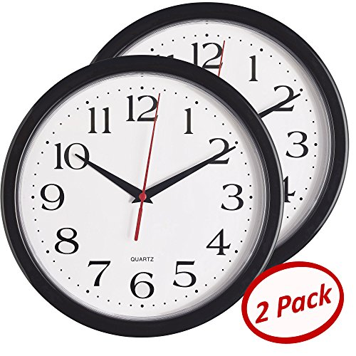 Bernhard Products - Black Wall Clocks 10 Inch - Set of 2 Silent Non Ticking Quality Quartz Battery Operated Round Easy to Read HomeOfficeSchool Clock 2 Black