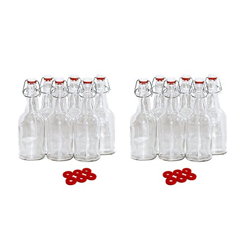 Beer Kombucha Home Brewing Bottles - 16 Ounce Swing Top Easy Cap Grolsch Style Clear Bottles - 12 Pack  12 Extra Rubber Gaskets