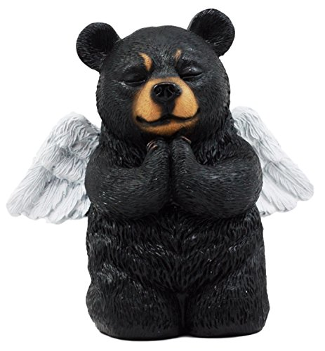 Atlantic Collectibles Praying Angel Bear Figurine 5H Kneeling Teddy Black Bear Cub Sculpture Decor