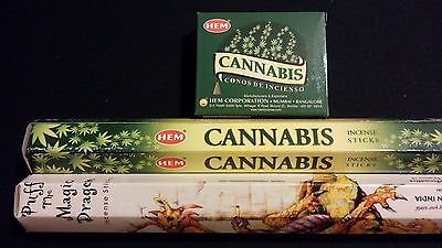 MARIJUANA Cannabis Puff The Magic Dragon 50 HEM Incense Sticks Cones Combo Set