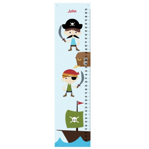 Pirate Children Growth Chart for Boys Bedroom Polka Dot Nursery Room Decor Personalized Baby Shower Gift with Pirate