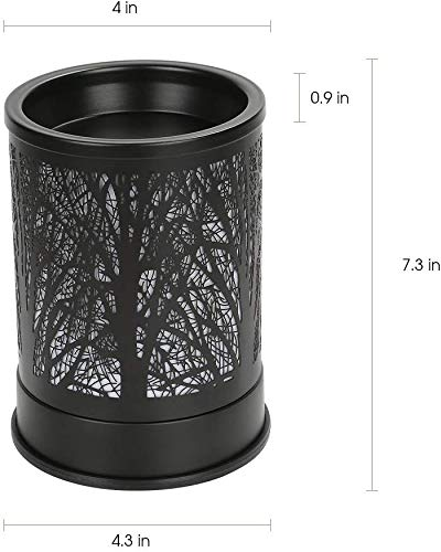 MEIYI HOUSEHOLD Classic Metal Forest Design Fragrance Oil Warmer Lamp Wax Melts Candle Warmer for Home Décor Black