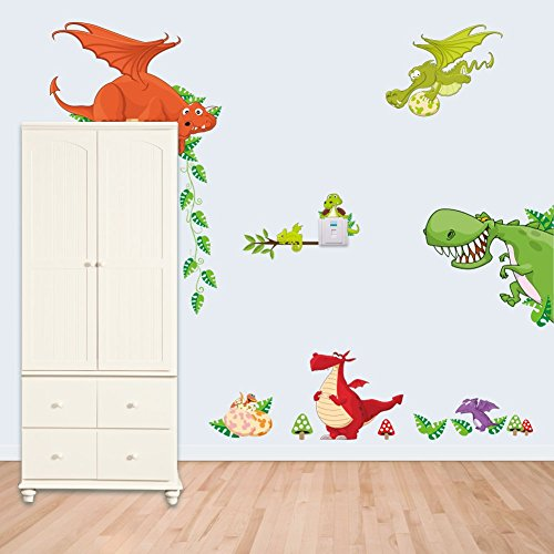 DNVEN DIY Jurassic World Various of Dinosaurs PVC Door Wardrobe Wall Decals Stickers Removable Vinyl Arts for Childrens Day Bedrooms Family Playroom Classroom