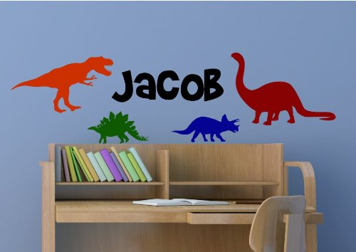 Dinosaur Wall Decal for Kids Bedroom Personalized Name Kids Room Decals Boys Name Decals Playroom Decals Dino Decals Dinosaur Name Custom Name Nursery Decor M42 FREE 12 WHITE HELLO DOOR DECAL