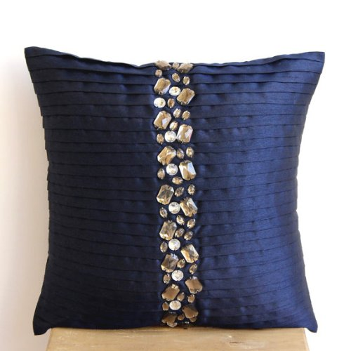 Handmade Navy Blue Cushion Covers Pintucks and Crystals Throw Pillows Cover 18x18 Throw Pillow Covers Square Silk Pillow Covers Modern Pillows Cover - Navy Blue Crystals