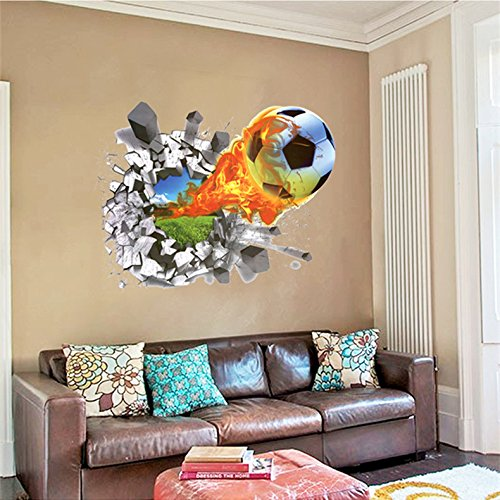 MrS Shop 3D Foodball Wall Stickers PVC Soccer Stickers Home Decor Removable Kids Room Decals
