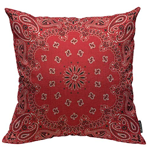 Mugod Western Paisley Throw Pillow Cover Bandana Seamless Pattern with Red and White Ornaments Decorative Square Pillow Case for Home Bedroom Living Room Cushion Cover 18x18 Inch