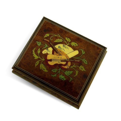 Exquisite Handcrafted Musical Instrument with Sheet Music Wood Inlay Music Box - Hush Little Baby