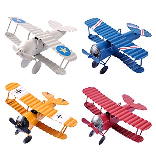 eZAKKA Airplane Decor Hanging Airplane Ornament Vintage Mini Metal Airplane Toys Decorations Model Aircraft Biplane Pendant for Boys Room Photo Props Christmas Tree Desktop Decoration 4 Color-Pack