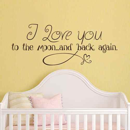 I Love You To The Moon And Back Again Nursery Wall Decal Love Quote Decor Baby Room Sticker Dark browns