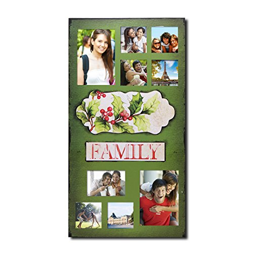 Homebeez Family Misstletow 9 Opening Green Photo Frame