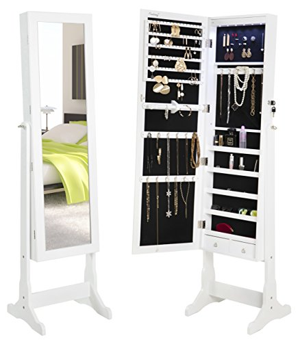 FINNHOMY Lockable Mirrored Jewelry Armoire Storage Organizer Free Standing Makeup Cabinet Holder w LED Light Stand for Ring Necklace Earring Cosmetics Broach Bracelet White