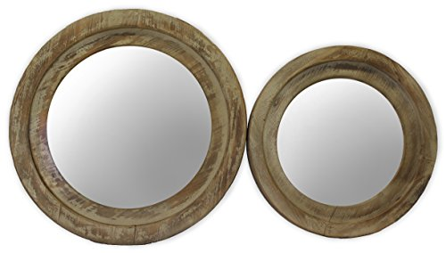 Round Wood Framed Mirrors Set of 2 19 iInches and 235 Inches Cedar wood Hanging Mounted  by Urban Legacy